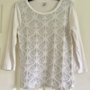 J.Crew Embroidered 3/4 Sleeve Blouse